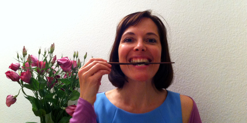 Patricia with chop stick